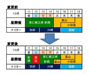 台風日程変更